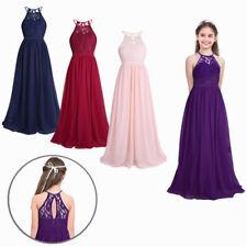 Girls Halter Flower Lace Junior Bridesmaid Dress Birthday Party Wedding Dresses