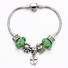 MC Silver Lucky Clover Leaf Sunshine Green Murano Beads European Charm Bracelet