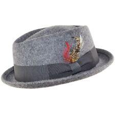 Mix Grey Quality Hand Made 100% Wool Diamond Crown Porkpie Pork Pie Hat 4 Sizes