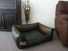Hundebett Hundesofa Kunstleder Similpelle Farbe schwarz braun Größe wählbar