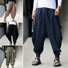 New Cotton Linen Men Harem Baggy Pants Japanese Loose Casual Boho Trousers