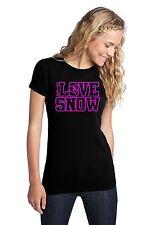 LOVE SNOW BOARD TEE SHIRT TOP WOMEN GIRL JUST RIDE SNOWBOARD SNOWBOARDER
