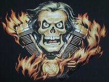 T-Shirt #211 V2 Skull, Rock'n Roll Skull Bones V8 Biker Hot Rod Route66 Dragster