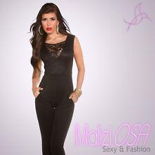 Tuta Elegante donna Overall intera jumpsuit Pizzo Zip Cerimonia Party MaliziOSA