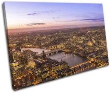 London Aerial Night City SINGLE TOILE murale ART Photo Print