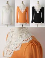 Crossdresser Sissy Lace Beaded Long Sleeve Casual Shirt Tops Size L