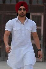 Traditional White Indian Men Designer Ethnic Eid Cotton Kurta Pajama Party Wear