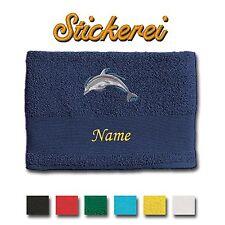 Handtuch Duschtuch Badetuch Baumwolle bestickt Stickerei Delphin Delfin + Name