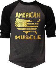 Men's Gold Foil American Muscle Map Charcoal Baseball Raglan Shirt Gym Workout
