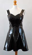 PVC NEGRO VINILO cóctel vestido mini Todas Las Tallas