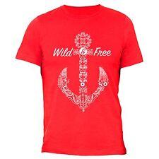 Wild Free Tshirt White Anchor Cruise Vacation Sail Summer Beach T-Shirt Red