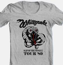 WhitesnakeTour T-shirt 80's heavy metal classic rock grey cotton retro style tee
