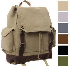 Military Rucksack Canvas Backpack Large Knapsack Vintage Bag School Bookbag