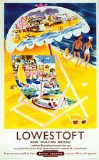Vintage British Railways Lowestoft Suffolk Railway Poster A3/A2/A1 Print