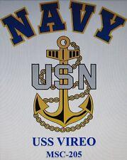 USS VIREO  MSC-205* MINESWEEPER * U.S NAVY W/ ANCHOR* SHIRT