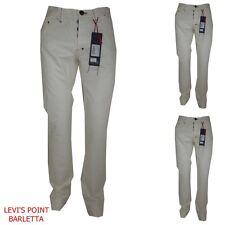 Pantaloni uomo vita alta 46 48 50 54 jeans cotone estivi dritto bull&bear bianco