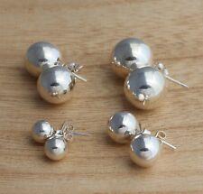 Solid 925 Sterling Silver Ball Stud Earrings 7mm 10mm 12mm 14mm Plain Earrings
