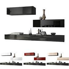 Combinaison murale Unité Ensemble de meubles de salon séjour Nublo en Noir