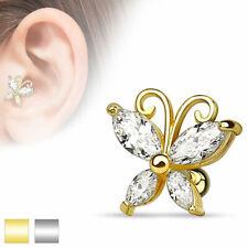 helix piercing al Trago farfalla placcato oro o color argento 1,2 x 6 mm