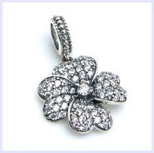 STR Silver Four Leaf Clover CZ Pendant Luck Love Bead f/ European Charm Bracelet