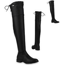 Damen Overknees Stiefel Gefütterte Boots Leder-Optik 819966 Trendy Neu