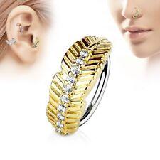 Piercing nez anneau feuille dorée strass