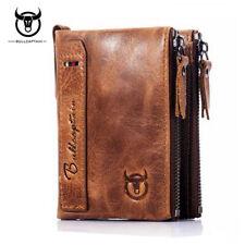 BULLCAPTAIN Men Short Wallet Oil Wax Genuine Leather Coin Card Holder Purse New