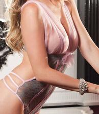 Women Sexy-Lingerie Lace Sleep Dresses Pink & Gray Nightwear Underwear