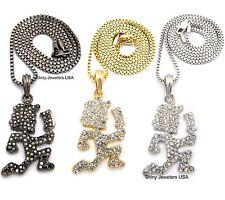 """Chain Necklace Gold ,Silver, Black Cz Hatchet Man Pendant 24"""" Box"""