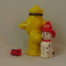 Dalmatian & Fire Hydrant Porcelain Hinged Box w/ Mini Fire Truck Figurine PHB