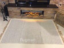 GREY CREAM CHEVRON Handmade Cotton Jute Reversible Washable Zig Zag KILIM Rug