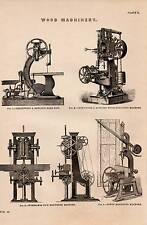 1868 PRINT ~ WOOD MACHINERY ~ MORTISING MACHINES ~ GREENWOOD & BATLEY'S BAND SAW