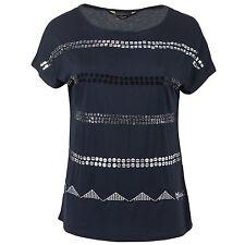Desigual Damen T-Shirt Shirt Pailletten Borten bestickt Rundhals-Ausschnitt