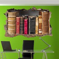 OLD ANTIQUE BOOKS LIBRARY WALL STICKERS 3D ART MURAL ROOM OFFICE SHOP DECOR VU1