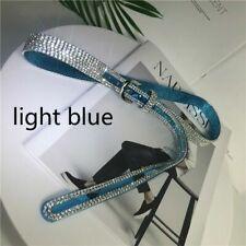 Laser Crystal Studded Thin Belt Women Pin Buckle Glitter Waist Chain Strap Cool