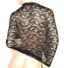 STOLA NERA coprispalle foulard donna pizzo ricamata elegante abito da sera E60