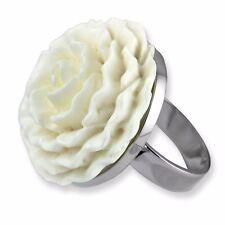 ECHT 925er Silber Designer Ring Weiße Rose 3cm Bone edle Handarbeit SR005