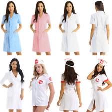 Womens Medical Nurse Doctor Fancy Dress Costume Uniform Dress Hospital Lab Coat