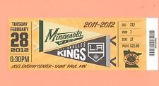 Los Angeles LA Kings 2011-2012 Stanley Cup @ Minnesota Wild 2-28-12 ticket stub