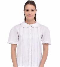Peter Pan Collar Short Sleeve White Blouse | Cotton Lane