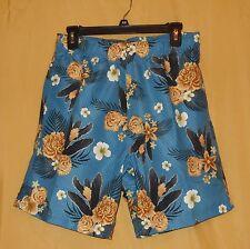 Luguna men's blue floral swimsuit trunks board shorts pockets net lined M $32