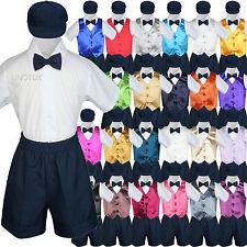 5pc Baby Boys Toddler Formal Vest Shorts Suits Satin Vest Navy Bow Tie Set S-4T