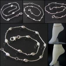 Fußkette 925 Silber Ankerkette 23-26cm Perlen Zirkonia Fußkettchen Schmuck VE17