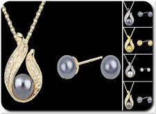 Perlen Set Weiss Kette Ohrstecker  Halskette Ohrringe Schmuckset Strass