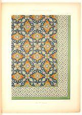 Stampa antica stile arabo MAIOLICHE XVII secolo 1885 Old Print Arabian Style