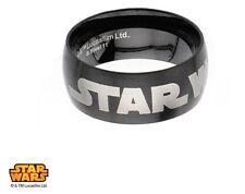 Star Wars Logo Officially Licensed Stainless Steel Black IP Spinner Ring