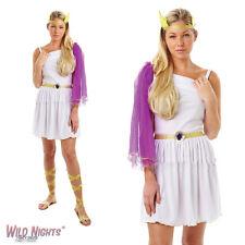 FANCY DRESS COSTUME ~ LADIES ADULT WHITE ROMAN GREEK GODDESS SIZES 8-18