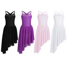 Kids Girls Ballet Dance Gymnastics Leotard Dress Cutout Back Irregular Hem Skirt