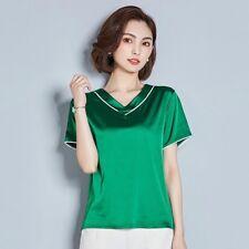 Damen Satin T-Shirts Kunstseide Oberteile kurzärmelige Bluse V Ausschnitt