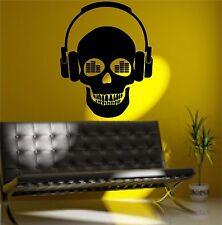 Music Skull DJ Headphones Wall Art Sticker Decal Mural Transfer Vinyl
